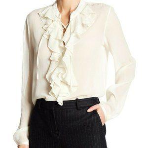 Theory Rianala Ivory Silk Lace Blouse. Size: S
